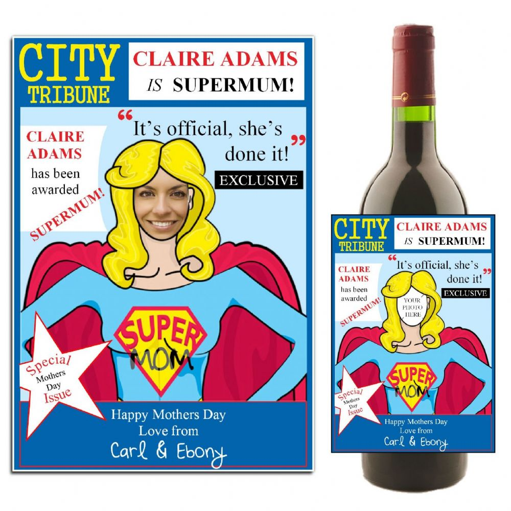 Personalised Happy Mothers Day Supermum Wine Champagne